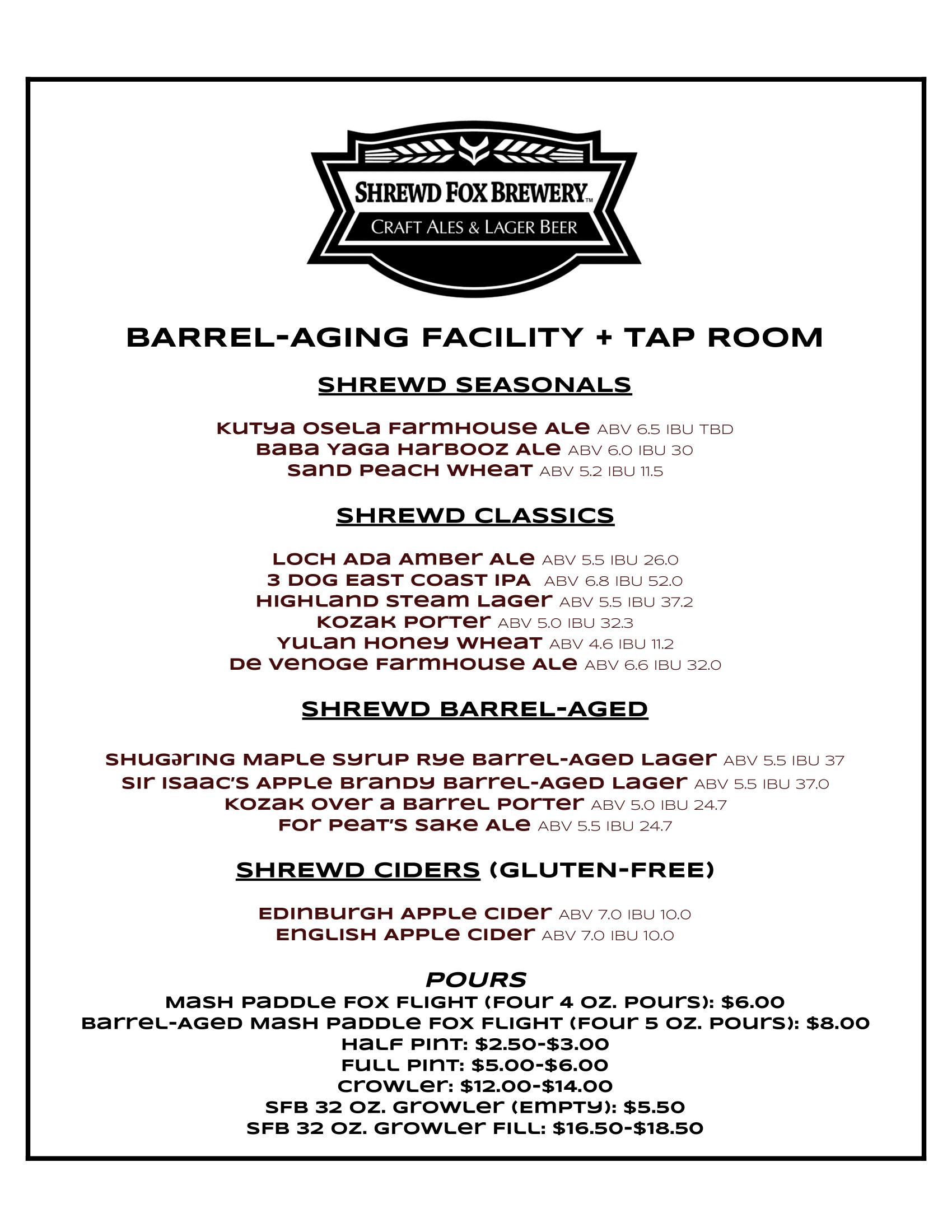 Tap Room - Shrewd Fox Brewery